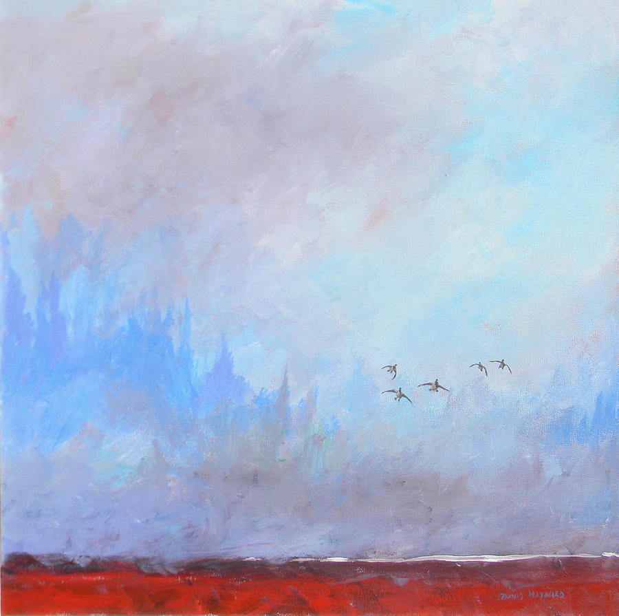 Waterfowl Painting - Misty Landing by David  Maynard