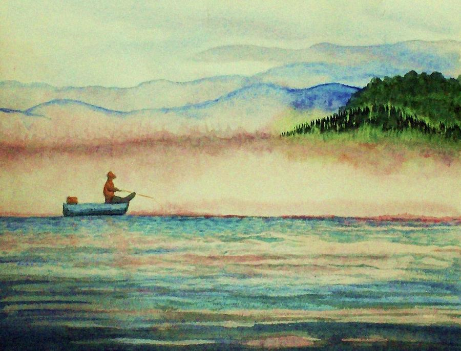Fishing Painting - Misty Morning Catch by Jeanette Stewart