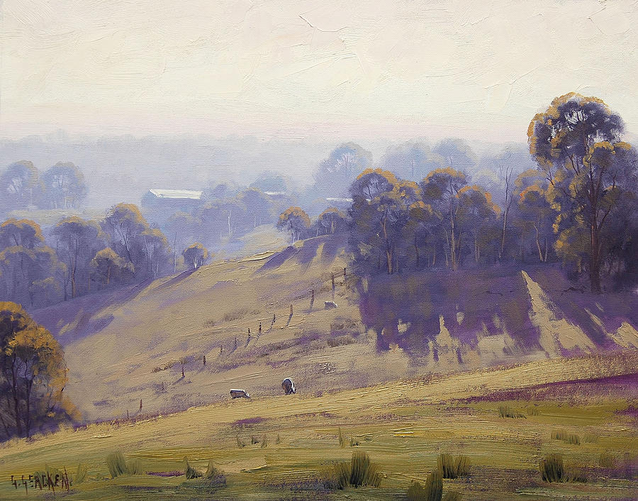 Hilly Painting - Misty Morning Cottles Bridge by Graham Gercken