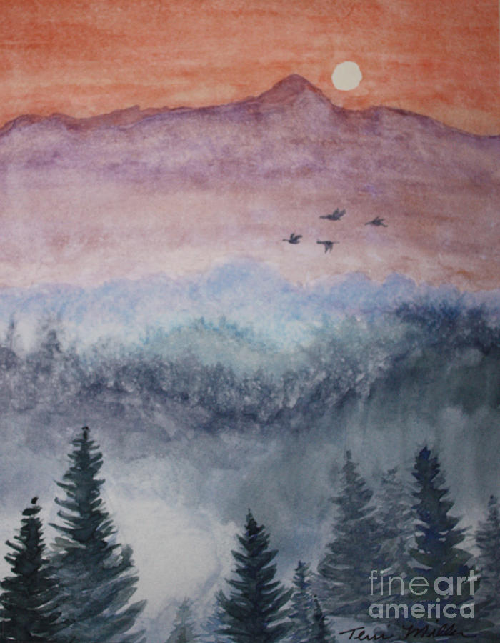 Landscape Painting - Misty Mountain by Terri Maddin-Miller