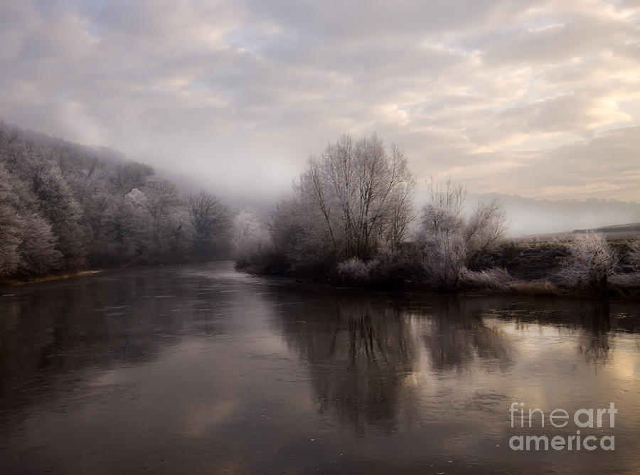 Wye Photograph - Misty Sunset by Angel Ciesniarska
