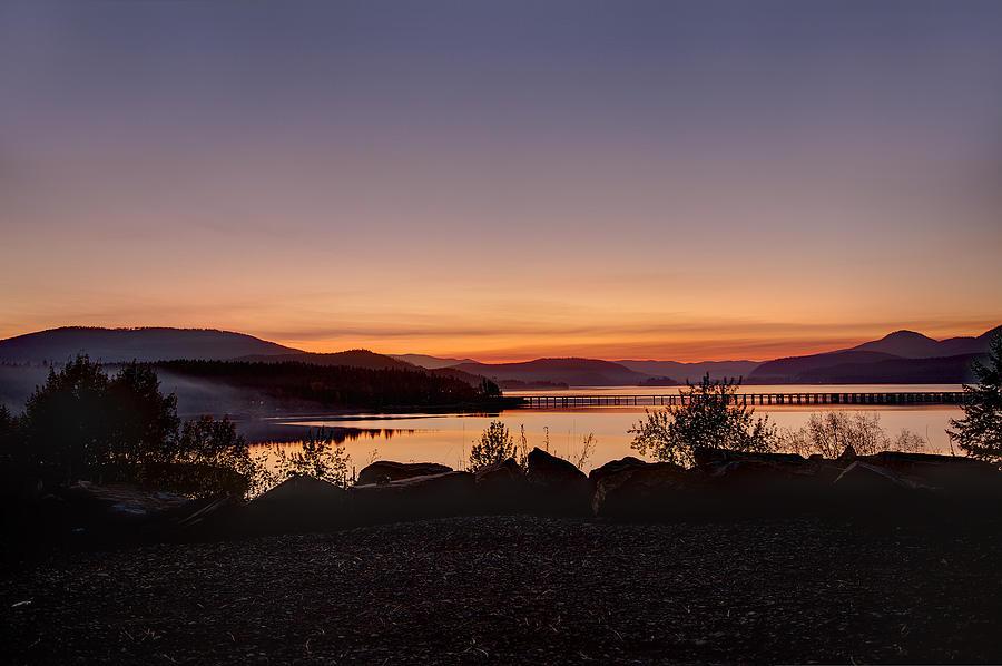 Lake Pend Oreille Photograph - Misty Sunset by Marie-Dominique Verdier