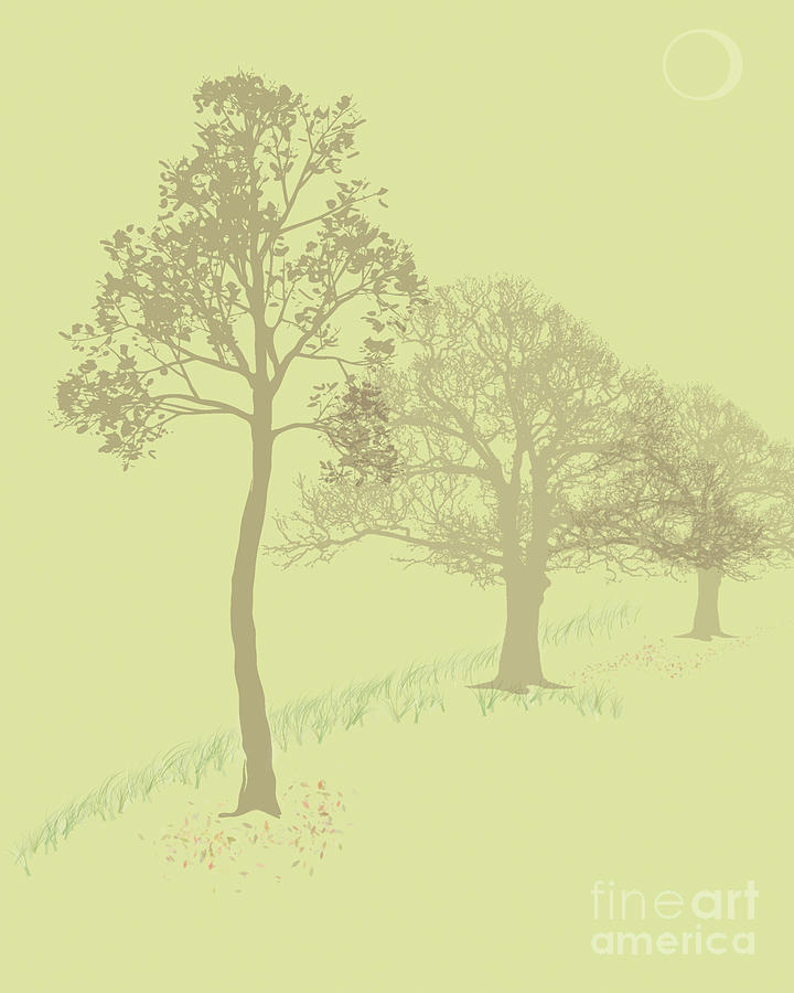 Trees Painting - Misty Trees by Michelle Bergersen