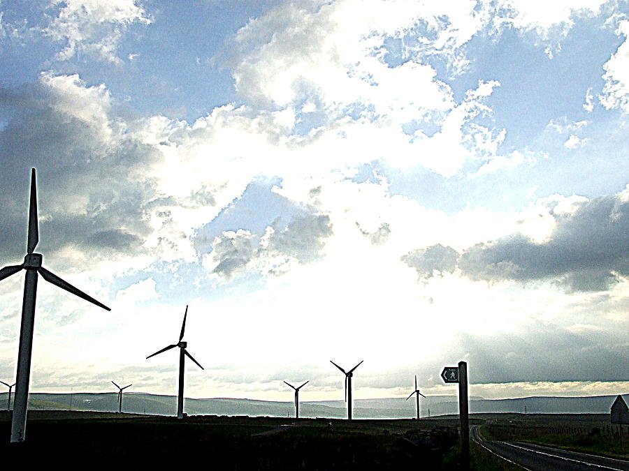Landscape Photograph - Misty Windmills by Rusty Gladdish