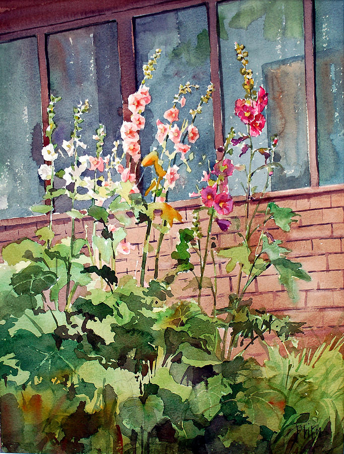 Summer Garden Painting - Mixed Hollyhock by Peter Sit