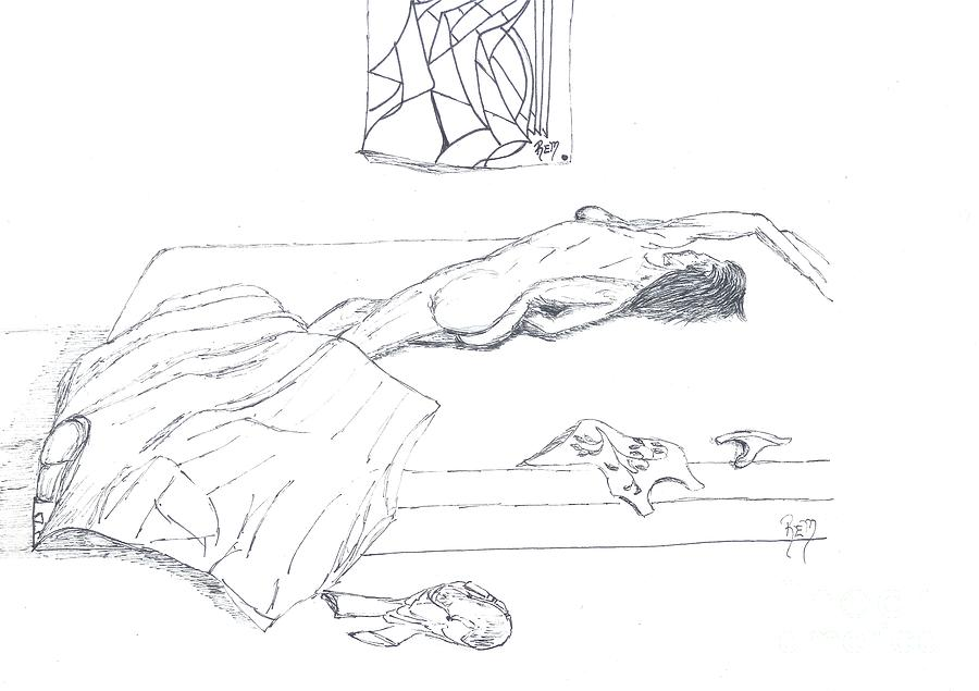 Female Drawing - Mmm...stretch... Sketch by Robert Meszaros