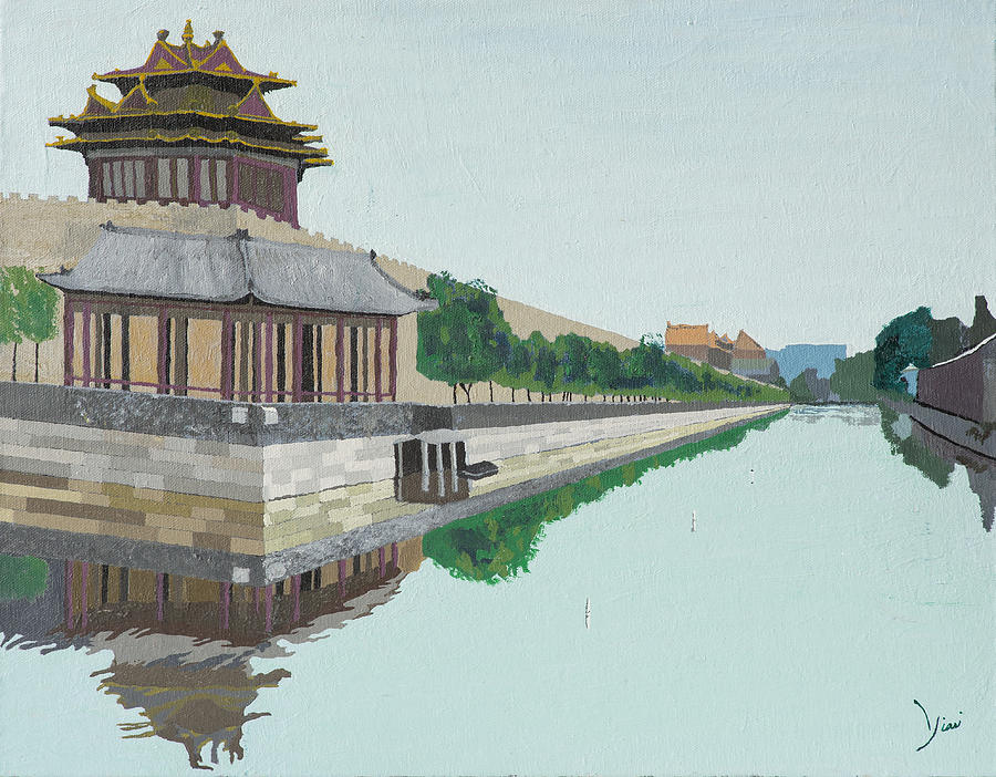 Moat Painting - Moat of the Forbidden City Beijing China by Yianni Foufas