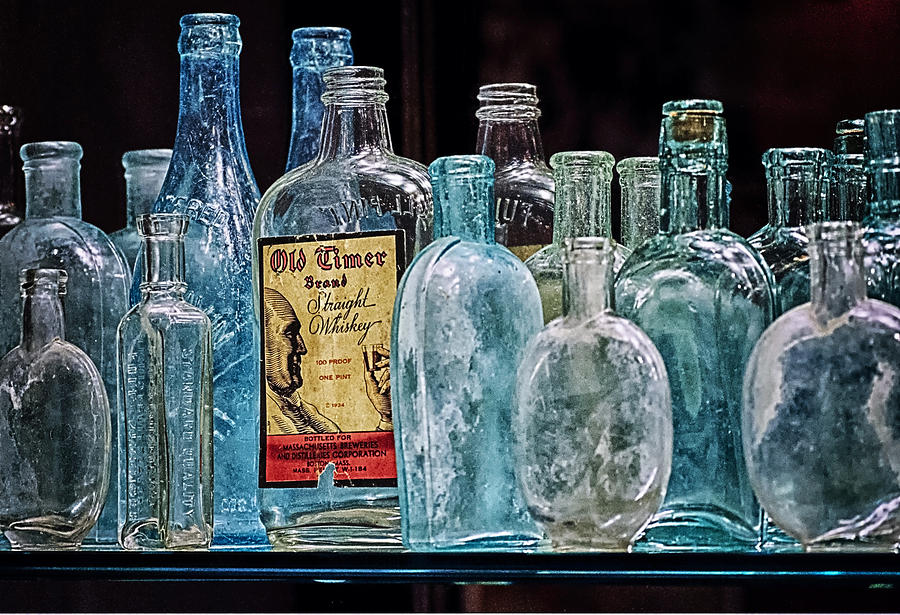 Mob Museum Photograph - Mob Museum Whiskey Bottles by Sandra Welpman