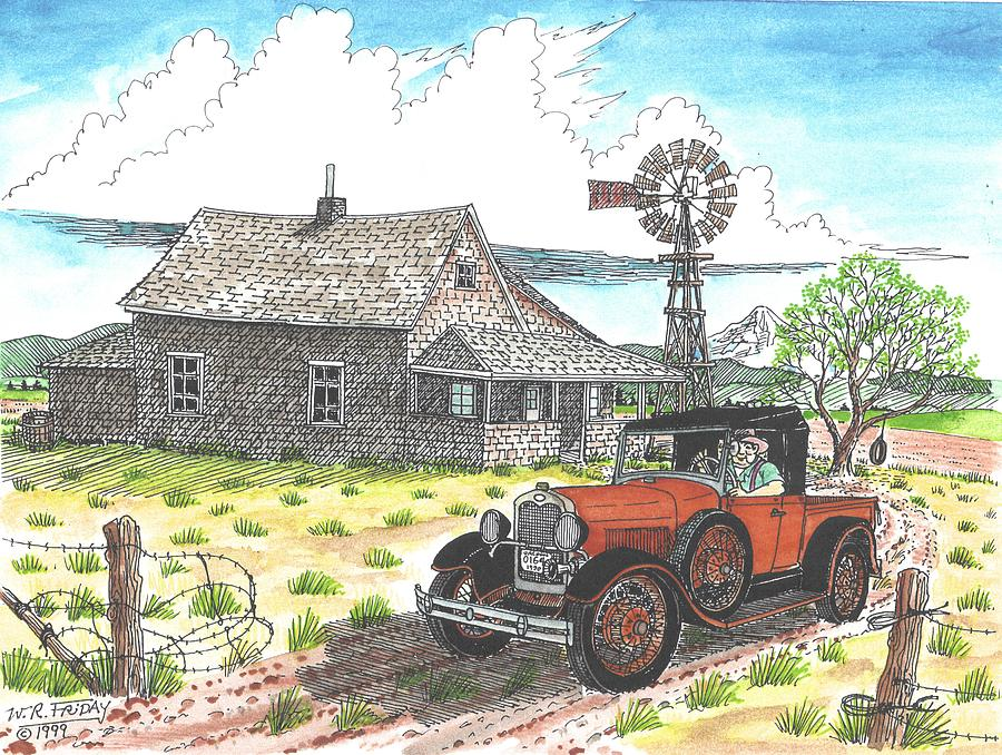 Model A Ford At Old Farm Drawing By Bill Friday