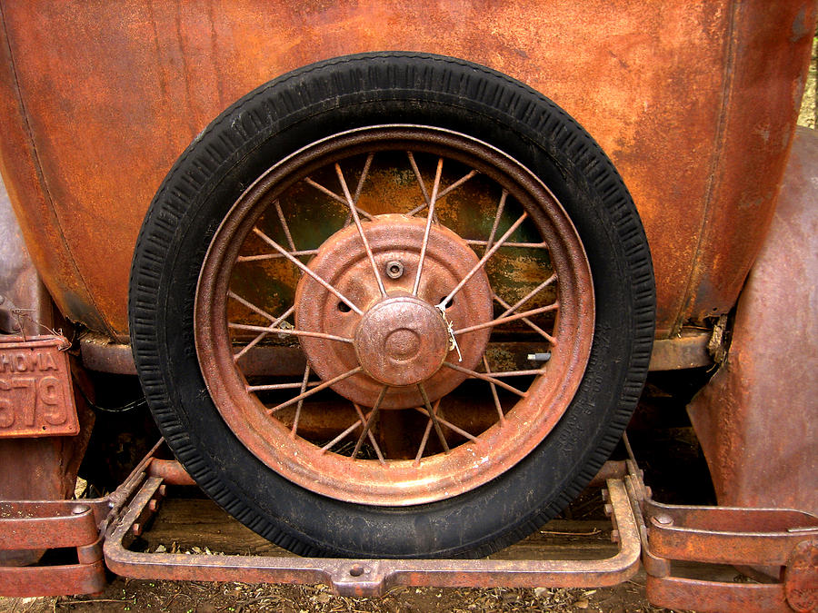 Antique Car Photograph - Model A  Oklahoma Spare by Ann Powell
