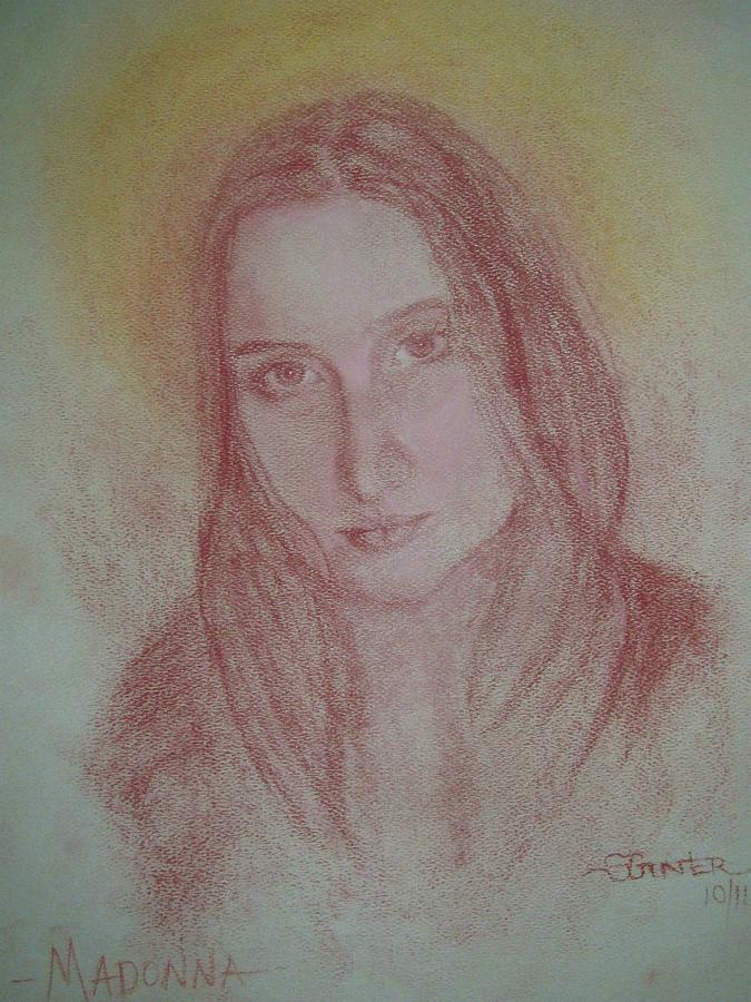 Madonna Drawing - Modern Madonna by Sheila Gunter
