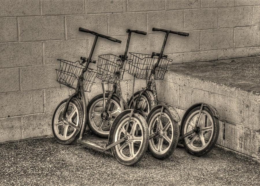 Amish Scooter Photograph - Modern Old Ways In Black And White by Greg and Chrystal Mimbs