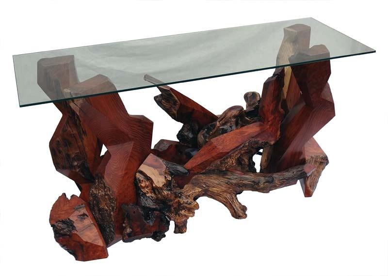Console Tables Sculpture - Modern Redwood Console Table With Glass Top Ds-19511 by Daryl Stokes
