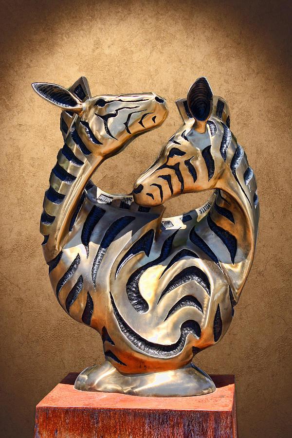 Artistic Photograph - Modern Zebra Sculpture by Linda Phelps