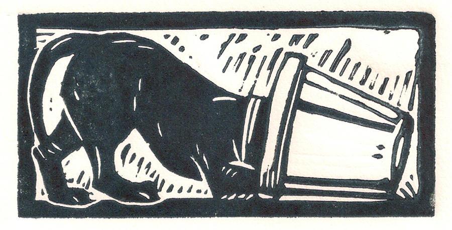 Labrador Retrievers Drawing - Molly Vs. Bucket by Jennifer Harper