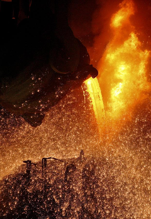 Equipment Photograph - Molten Metal Being Poured From A Vat by Ria Novosti