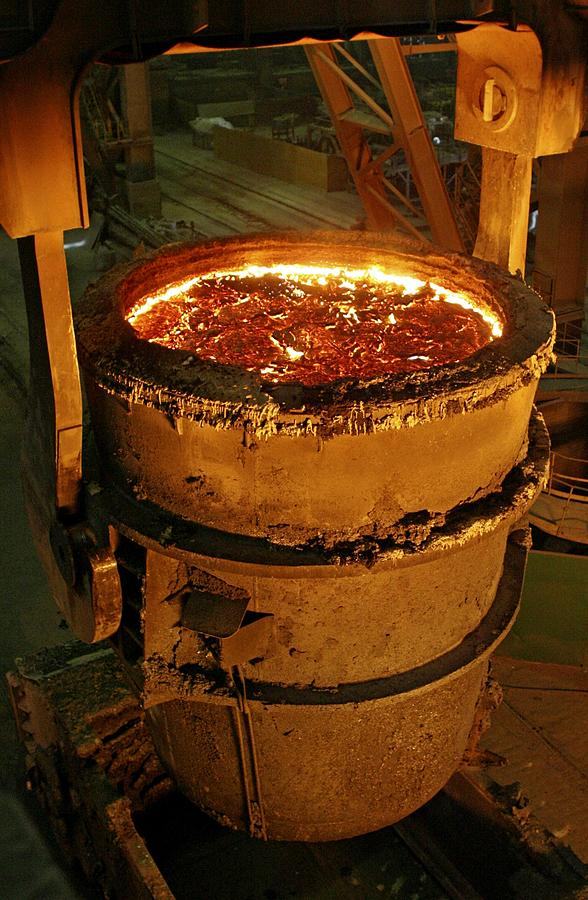 Equipment Photograph - Molten Metal In A Vat by Ria Novosti