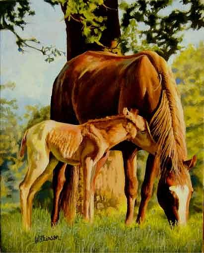 Horses Painting - Momma I Love You by Ronald Wilkinson