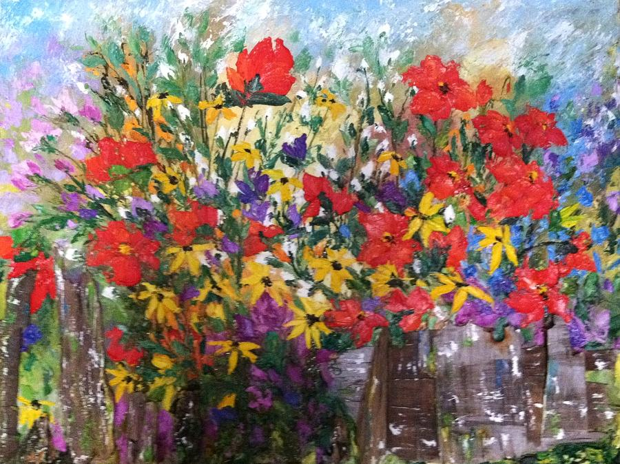 wood painting moms flower garden by helen wendle - Flower Garden Paintings