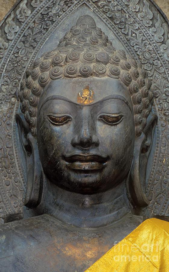 Temple Photograph - Mon Stone Buddha Head - Thailand by Craig Lovell