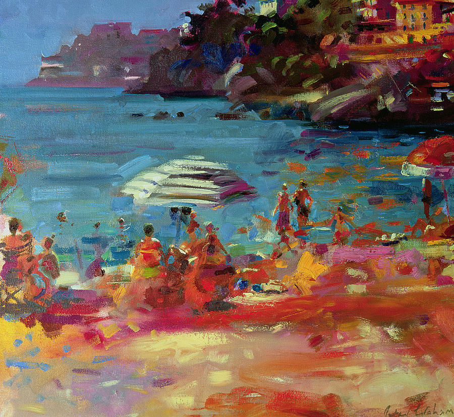 Monaco coast painting by peter graham for Art print for sale