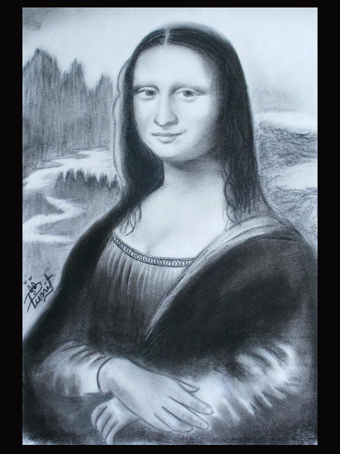Portrait Drawing - Monalisa by Punit Jain
