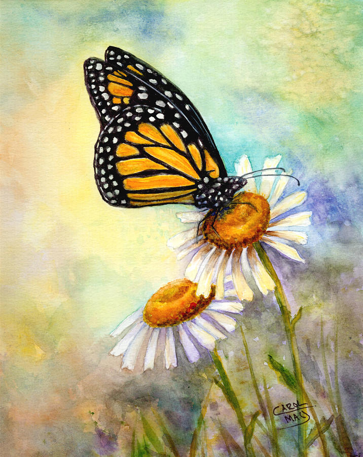 Monarch On Daisies Painting by Art by Carol May