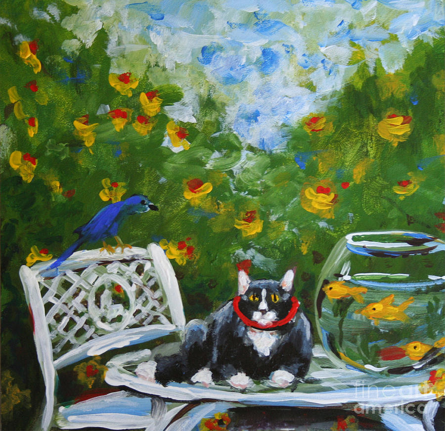 Impressionistic Painting - Monets Cat by Stella Violano