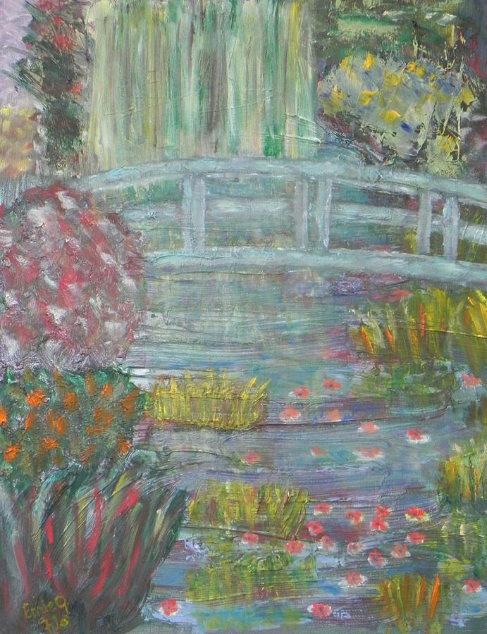 Impressionist Landscape Painting - Monets Garden Bridge by Ernie Goldberg