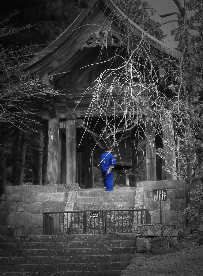 Japan Photograph - Monk And Bell by Naxart Studio