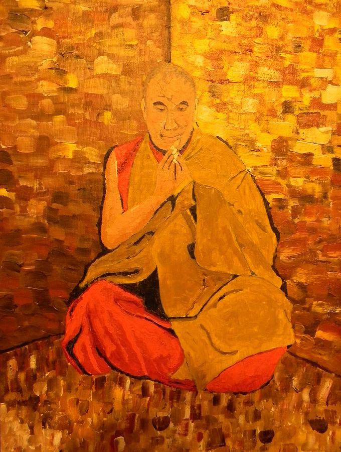 Buddhist Painting Painting - Monk In Meditation by Gilbert Bernhardt