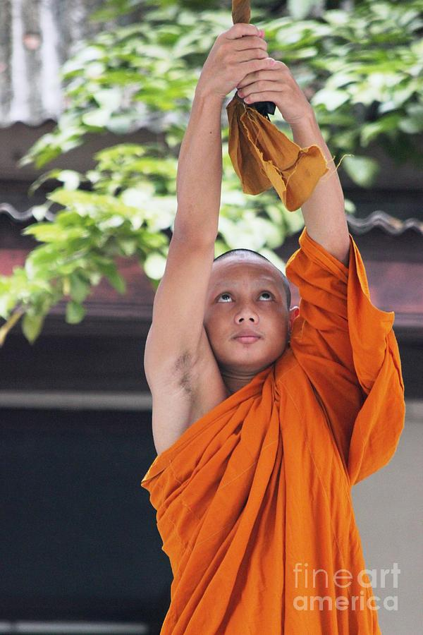 Buddhism Photograph - Monk In The Bell Tower #2 by Nola Lee Kelsey