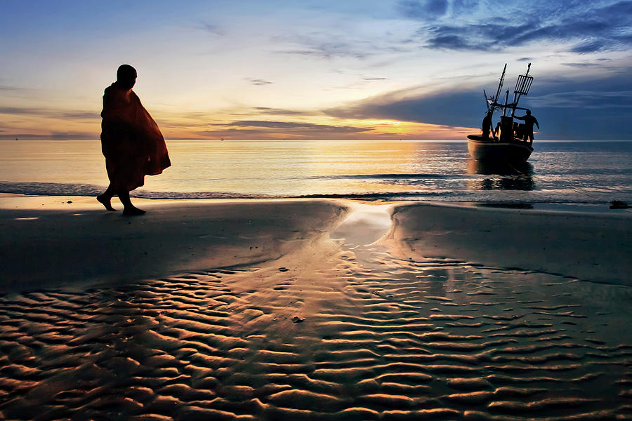 Monk Photograph - Monk Walk For Food On The Beach by Arthit Somsakul