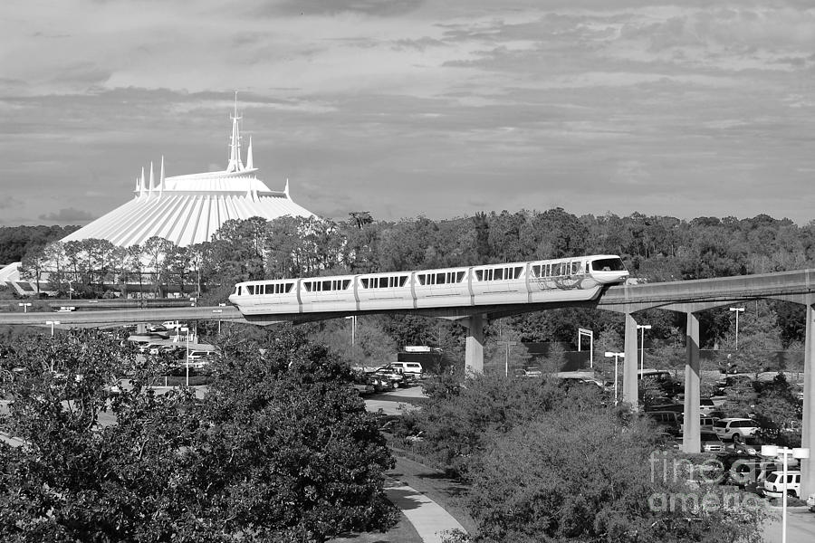 Monorail photograph monorail and space mountain magic kingdom walt disney world prints black and white