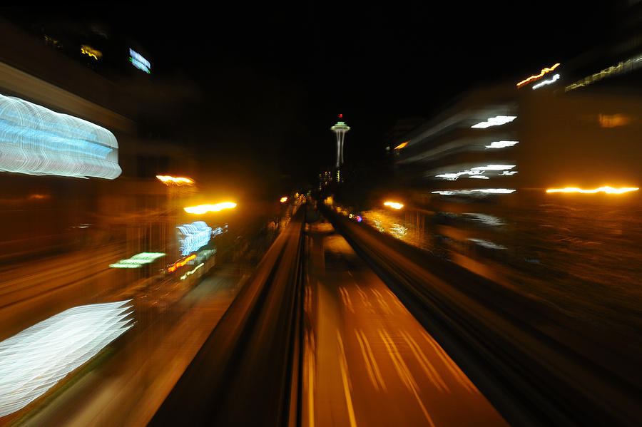 Monorail Photograph - Monorail By Night by George Crawford
