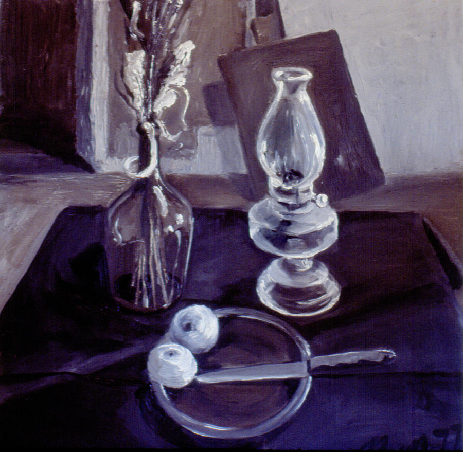 Oil Painting - Monotone Still Life 1977 by Nancy Griswold