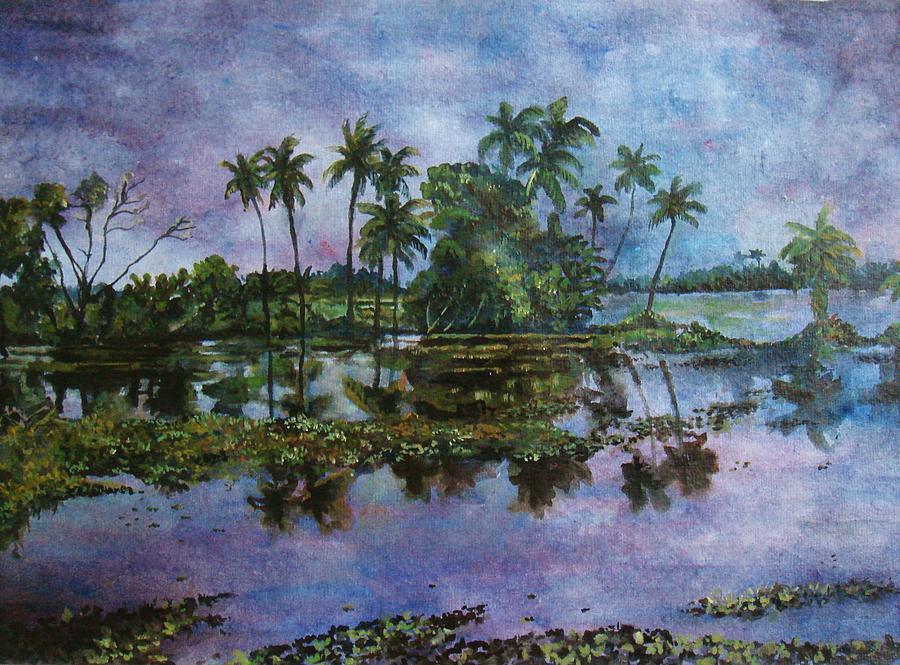Water Painting - Monsoon Glory-ii by Manjula Prabhakaran Dubey