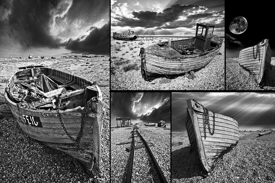 Boat Photograph - Montage Of Wrecked Boats by Meirion Matthias