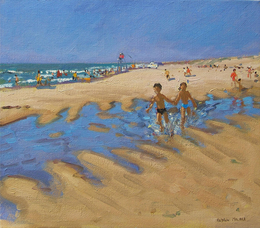 Seaside Painting - Montalivet France by Andrew Macara