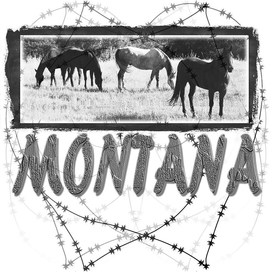 Horses Digital Art - Montana Horse Design by Susan Kinney