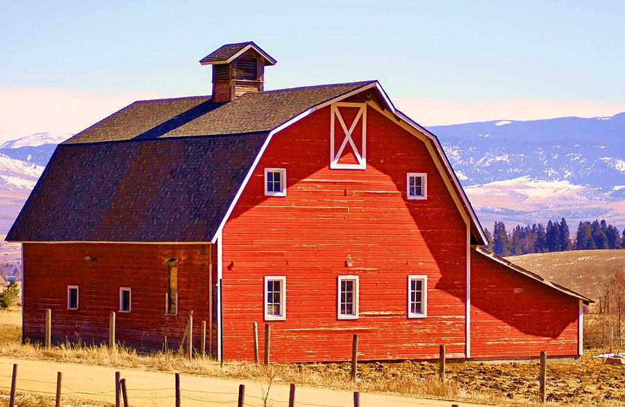Montana red barn photograph by william kelvie for American barn homes