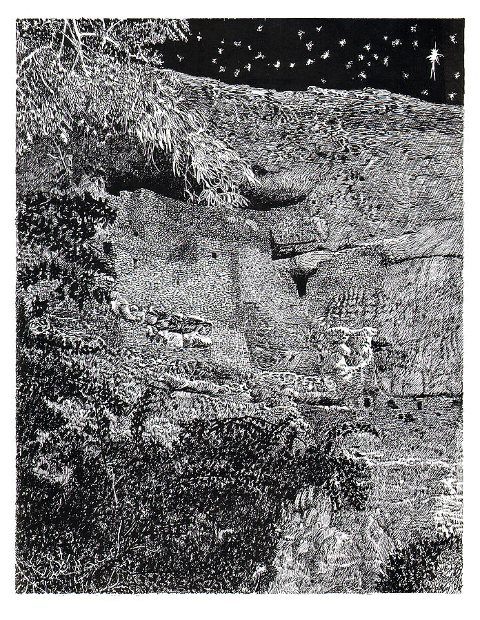 Located Near Camp Verde Drawing - Montezuma Castle  by Jack Pumphrey