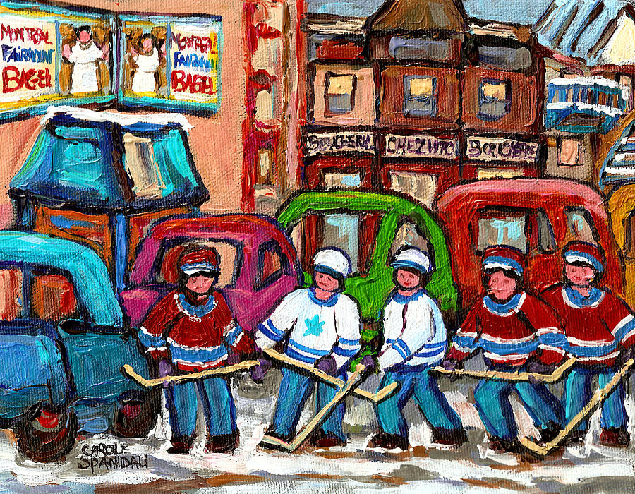 Montreal Painting - Montreal Bagels And Hockey by Carole Spandau