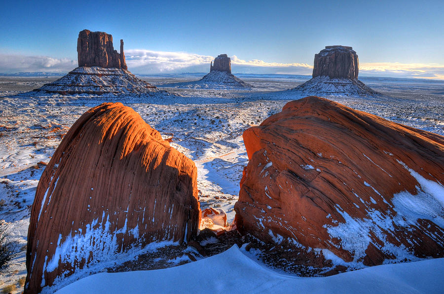 Monument Valley Snowfall Photograph by Michael Biggs