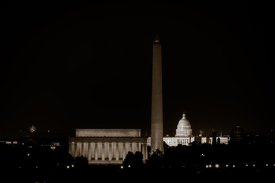 4th Of July Photograph - Monuments In Black And White by David Hahn