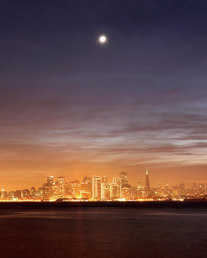 Vertical Photograph - Moon And Sf From Treasure Island by Rob Kroenert