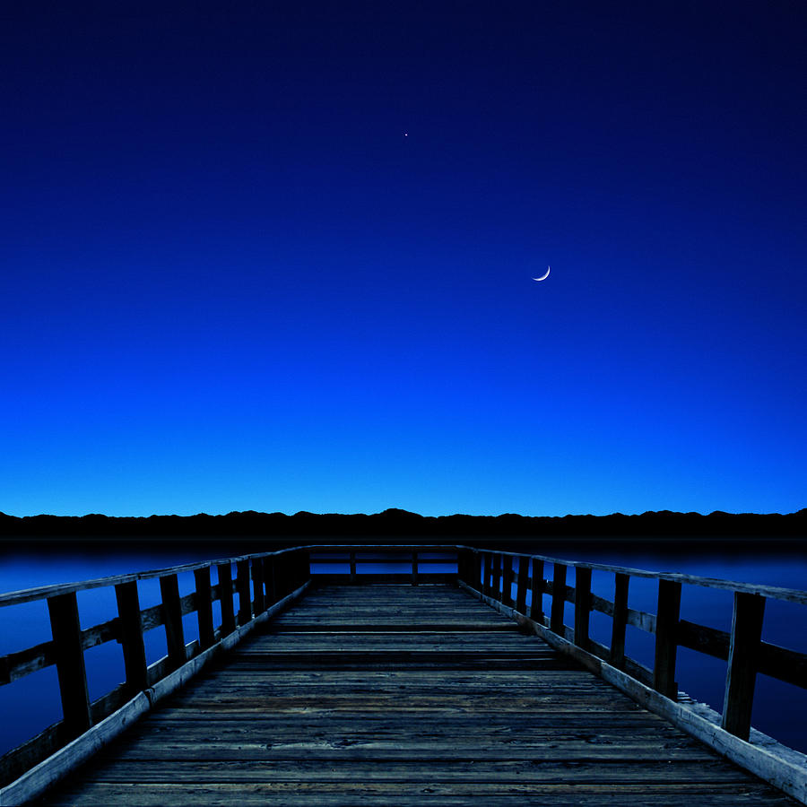 Square Photograph - Moon And Venus In The Blue by Carlos Gotay