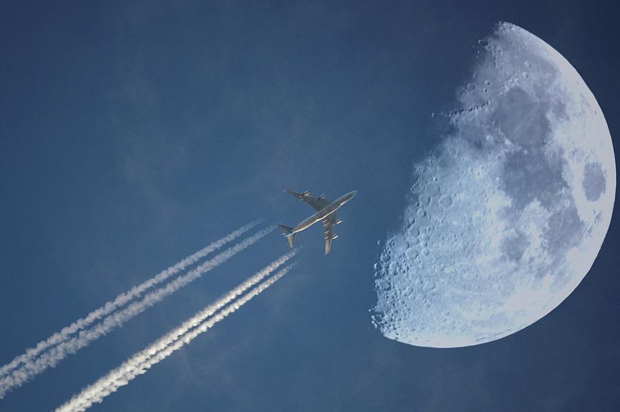 Horizontal Photograph - Moon Flight by G.t.