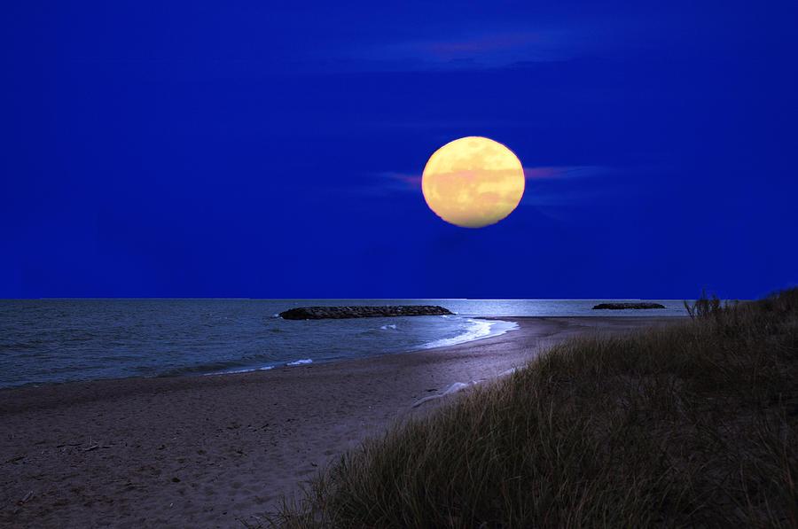 Moon Photograph - Moon On The Beach by Randall Branham