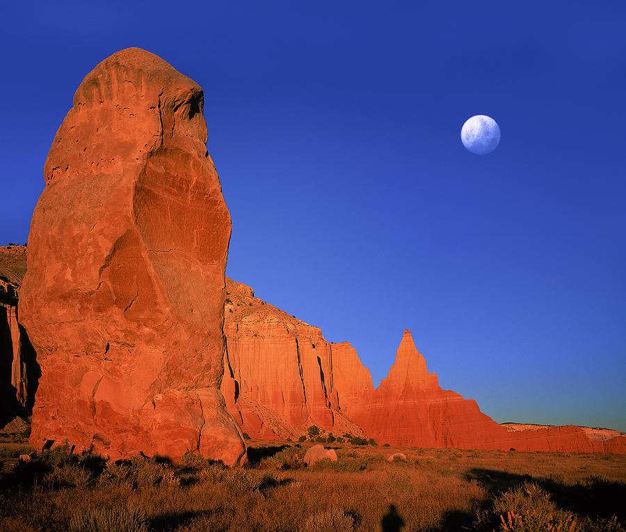 Daniel Digital Art - Moon Over Kodakchrome State Park Utah by Daniel Chui